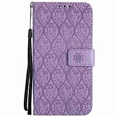 Недорогие Чехлы и кейсы для Sony-Кейс для Назначение Sony Xperia L1 Xperia E5 Бумажник для карт Кошелек Защита от удара со стендом Флип Чехол Сплошной цвет Твердый Кожа PU