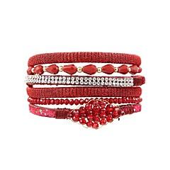 preiswerte Armbänder-Damen Wickelarmbänder - Krystall, Leder Böhmische, Boho Armbänder Grau / Rot / Blau Für Maskerade Festtage