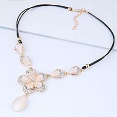 preiswerte Halsketten-Damen Katzenauge Chrysoberyl Anhängerketten  -  Opal Tropfen, Blume Europäisch, Süß, Modisch Beige 42 cm Modische Halsketten Für Party