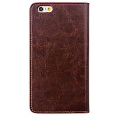 Недорогие Кейсы для iPhone-Кейс для Назначение Apple iPhone 8 iPhone 6 Бумажник для карт Защита от удара Чехол Сплошной цвет Твердый Настоящая кожа для iPhone 6s