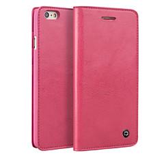 Недорогие Кейсы для iPhone-Кейс для Назначение Apple iPhone 7 Plus iPhone 7 Бумажник для карт Защита от удара Флип Чехол Сплошной цвет Твердый Настоящая кожа для