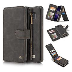 Недорогие Чехлы и кейсы для Galaxy Note 5-Кейс для Назначение SSamsung Galaxy Note 8 Note 5 Бумажник для карт Кошелек со стендом Чехол Сплошной цвет Твердый Настоящая кожа для