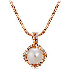 preiswerte Halsketten-Damen Kubikzirkonia Anhängerketten - Roségold, Künstliche Perle, Zirkon Klassisch, Elegant Gold Modische Halsketten Für Hochzeit, Formal