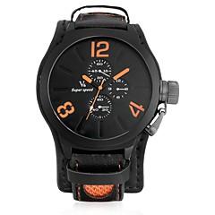 お買い得  メンズ腕時計-JUBAOLI 男性用 クォーツ カジュアルウォッチ 中国 大きめ文字盤 レザー バンド クール ブラック