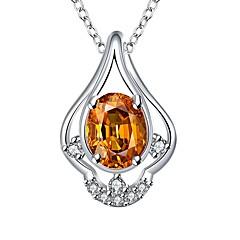 preiswerte Halsketten-Damen Synthetischer Rubin Anhängerketten - versilbert Klassisch Dunkelblau, Gelb, Rot Modische Halsketten Schmuck 1 Für Geschenk, Alltag