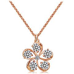 preiswerte Halsketten-Damen Kubikzirkonia Anhängerketten - Roségold, Zirkon Blumen / Botanik, Blume Modisch Gold Modische Halsketten Für Zeremonie, Formal