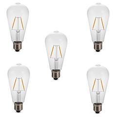 cheap LED Bulbs-5pcs 2W 180lm E26 / E27 LED Filament Bulbs ST64 2 LED Beads COB Decorative Warm White Cold White 220-240V