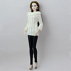 abordables Ropa para Barbies-Órganos separados Pantalones Cárdigans y Suéteres por Muñeca Barbie  Blanco/negro Textil Lana Artificial Top Pantalones por Chica de