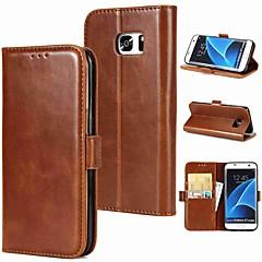 olcso Galaxy S3 tokok-Case Kompatibilitás Samsung Galaxy S9 S9 Plus Kártyatartó Flip Mágneses Héjtok Egyszínű Kemény Valódi bőr mert S9 Plus S9 S8 Plus S8 S7