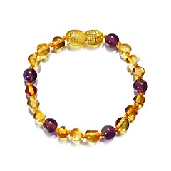 preiswerte Armbänder-Herrn Damen Amethyst Bernsteinfarben Strang-Armbänder - Einfach Armbänder Purpur / Gelb Für Alltag Ausgehen