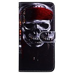Недорогие Кейсы для iPhone 7-Кейс для Назначение Apple iPhone X iPhone 6 Бумажник для карт Флип С узором Чехол Черепа Твердый Кожа PU для iPhone X iPhone 8 Pluss