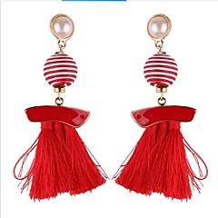 お買い得  イヤリング-女性用 ドロップイヤリング 真珠 フォーマル ボヘミアンスタイル 韓国語 ストラップ 真珠 ボール型 ジュエリー 贈り物 日常 コスチュームジュエリー