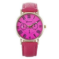 preiswerte Damenuhren-Damen Quartz Chinesisch Armbanduhren für den Alltag Leder Band Modisch Schwarz Weiß Blau Rot Braun Rosa Gelb Rose