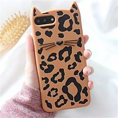 Недорогие Кейсы для iPhone 7-Кейс для Назначение Apple iPhone X iPhone 7 Plus С узором Кейс на заднюю панель Леопардовый принт 3D в мультяшном стиле Мягкий Силикон для