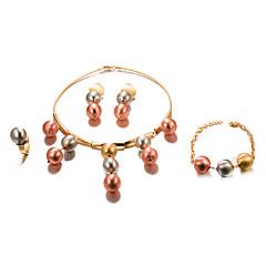 abordables Juegos de Joyería-Mujer Conjunto de joyas - Chapado en Oro Importante, Moda Incluir Dorado Para Boda Fiesta / Pendientes