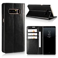 Недорогие Чехлы и кейсы для Galaxy Note 5-Кейс для Назначение SSamsung Galaxy Note 8 Note 5 Бумажник для карт Кошелек Защита от удара со стендом Флип Чехол Сплошной цвет Твердый