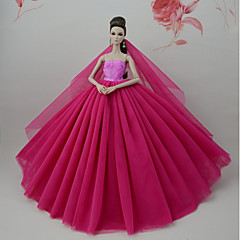 abordables Ropa para Barbies-Vestidos Vestir por Muñeca Barbie  Rojo Oscuro Tul Tela de Encaje Mezcla de Seda y Algodón Vestido por Chica de muñeca de juguete