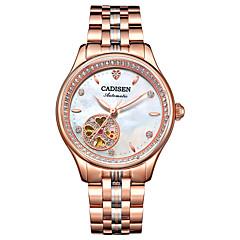 preiswerte Damenuhren-CADISEN Damen Armbanduhren für den Alltag Modeuhr Japanisch Automatikaufzug Edelstahl Bandmaterial Weiß / Rotgold 50 m Wasserdicht Armbanduhren für den Alltag Analog damas Modisch Elegant - Wei