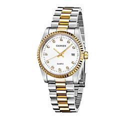 preiswerte Herrenuhren-CADISEN Herrn Armbanduhren für den Alltag Kleideruhr Japanisch Quartz 30 m Wasserdicht Kalender Armbanduhren für den Alltag Edelstahl Band Analog Eiffelturm Modisch Weiß / Gold - Weiß / Gold Zwei