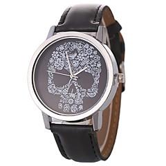 preiswerte Damenuhren-Damen Paar Armbanduhren für den Alltag Quartz Armbanduhren für den Alltag Leder Band Analog Freizeit Totenkopf Schwarz / Silber / Rot - Hellblau Braun Goldenbraun