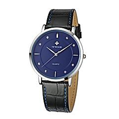 お買い得  メンズ腕時計-男性用 ファッションウォッチ 日本産 クォーツ 30 m カジュアルウォッチ 本革 バンド ハンズ ファッション ブラック / ブラウン - ブラック ダークブルー Brown 1年間 電池寿命