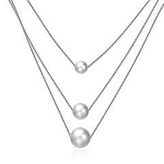 preiswerte Halsketten-Damen Perle Geometrisch Anhängerketten - Sterling Silber damas, Modisch Silber Modische Halsketten Schmuck 1 Für Geschenk, Alltag
