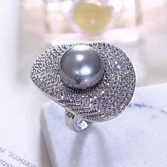 お買い得  指輪-女性用 真珠 ステートメントリング - 真珠, ジルコン 欧風, ファッション, 特大の 6 / 7 / 8 / 9 ホワイト / グレー 用途 パーティー 贈り物