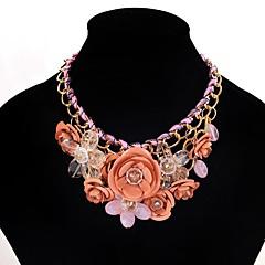 preiswerte Halsketten-Anhängerketten Statement Ketten - Blume Europäisch, Mehrfarbig Rot, Rosa, Dunkelgrün 45 cm Modische Halsketten Für Party / Abend, Party