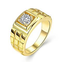 baratos Bijuterias para Homens-Homens Legal Zircão / Chapeado Dourado Anel de banda - Formato Circular Rock Dourado Anel Para Diário / Trabalho
