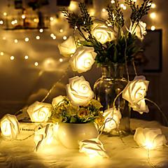preiswerte LED Lichtstreifen-1.5 Leuchtgirlanden 10 LEDs LED Diode Warmes Weiß Dekorativ AA-Batterien angetrieben 1pc