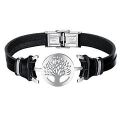 Недорогие Браслеты-Муж. Кожаные браслеты Мода Нержавеющая сталь Кожа Черный Дерево жизни Бижутерия Повседневные Бижутерия