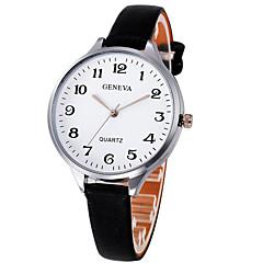 お買い得  レディース腕時計-女性用 リストウォッチ 大きめ文字盤 レザー バンド ハンズ バングル エレガント ブラック / 白 / ブラウン - ブラック / ホワイト ダークグリーン フルーツグリーン 1年間 電池寿命 / SSUO LR626
