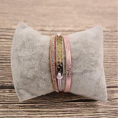お買い得  ブレスレット-女性用 レザー レザーブレスレット  -  カジュアル ファッション 不規則な ピンク ブレスレット 用途 贈り物 日常