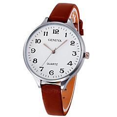 preiswerte Damenuhren-Damen Armbanduhr Chinesisch Großes Ziffernblatt Leder Band Elegant / Armreif Schwarz / Weiß / Braun