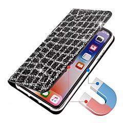 Недорогие Кейсы для iPhone 5-Кейс для Назначение Apple iPhone X iPhone 8 Бумажник для карт Флип Магнитный Чехол Сияние и блеск Твердый Кожа PU для iPhone X iPhone 8