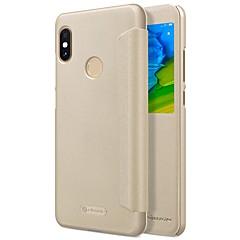 Недорогие Чехлы и кейсы для Xiaomi-Кейс для Назначение Xiaomi Redmi Note 5 Pro с окошком / Флип / Авто Режим сна / Пробуждение Чехол Однотонный Твердый Кожа PU для Xiaomi Redmi Note 5 Pro