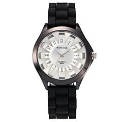 preiswerte Damenuhren-Damen Quartz Modeuhr Armbanduhren für den Alltag Chinesisch Armbanduhren für den Alltag Silikon Band Freizeit Modisch Schwarz Weiß Blau