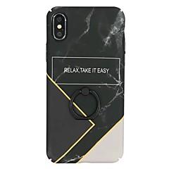 Недорогие Кейсы для iPhone X-Кейс для Назначение Apple iPhone X / iPhone 8 Кольца-держатели Кейс на заднюю панель Мрамор Твердый ПК для iPhone X / iPhone 8 Pluss / iPhone 8