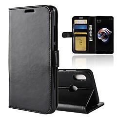 Недорогие Чехлы и кейсы для Xiaomi-Кейс для Назначение Xiaomi Redmi Note 5 Pro Redmi 5 Plus Бумажник для карт Кошелек со стендом Флип Магнитный Чехол Однотонный Твердый