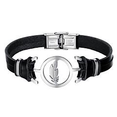 Недорогие Женские украшения-Муж. Кожаные браслеты Мода Нержавеющая сталь Кожа Черный Перо Бижутерия Повседневные Бижутерия