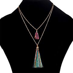 お買い得  ネックレス-女性用 レイヤード レイヤードネックレス  -  シンプル レインボー, レッド, ブルー 40+5 cm ネックレス ジュエリー 用途 日常, お出かけ