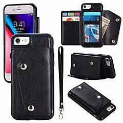 Недорогие Кейсы для iPhone-Кейс для Назначение Apple iPhone X iPhone 8 Бумажник для карт Кошелек Флип Магнитный Чехол Однотонный Твердый Настоящая кожа для iPhone X