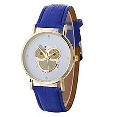 お買い得  レディース腕時計-女性用 クォーツ ファッションウォッチ 中国 大きめ文字盤 PU バンド フクロウ ファッション ブラック 白 ブルー レッド ブラウン グレー
