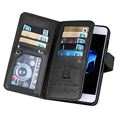 Недорогие Кейсы для iPhone 5-Кейс для Назначение Apple iPhone X iPhone 8 Бумажник для карт Кошелек Флип Чехол Однотонный Твердый Настоящая кожа для iPhone X iPhone 8