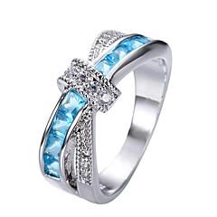 preiswerte Ringe-Damen Kristall / Kubikzirkonia Statement-Ring - versilbert Schleife Modisch 6 / 7 / 8 Rosa / Dunkelrot / Hellblau Für Alltag