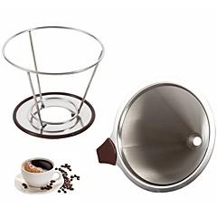 abordables Accesorios para café-Filtro de café de cono de acero inoxidable gotero de doble capa de malla de café titular de filtro de cono infundir casa cocina herramientas de fabricación de café
