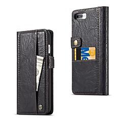 Недорогие Кейсы для iPhone X-Кейс для Назначение Apple iPhone X iPhone 8 Бумажник для карт Кошелек Флип Магнитный Чехол Однотонный Твердый Настоящая кожа для iPhone X