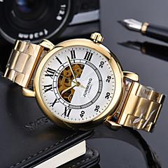 お買い得  メンズ腕時計-男性用 軍用腕時計 機械式時計 日本産 自動巻き 本革 ベルト素材 ブラック / ブラウン 50 m クロノグラフ付き 透かし加工 クール ハンズ ぜいたく カジュアル - ブラック / シルバー ホワイト / ゴールド ホワイト / ベージュ / ステンレス
