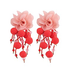 cheap Earrings-Long Drop Earrings - Flower Sweet, Fashion Red / Green / Light Blue For Evening Party / Work