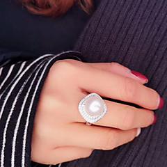 お買い得  指輪-女性用 淡水パール 幾何学的 オープンリング  -  銀メッキ, ゴールドメッキ, S925スターリングシルバー レディース, クラシック, ファッション, エレガント ジュエリー ゴールド / シルバー 用途 パーティー 贈り物 調整可